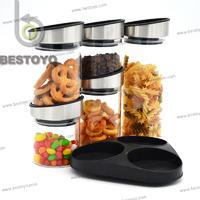 5Pcs storage jar set with rotatable rack